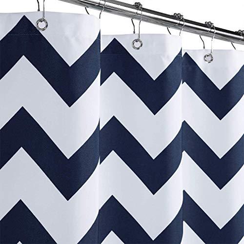 LinTimes Duschvorhang waschbar Duschvorhänge Wasserdicht Antischimmel Shower Curtain,Marineblau,183x244cm