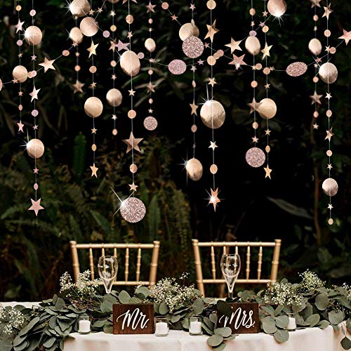 Champagne Party Decoration Circle Dot Garland Streamer Kit Twinkle Star Paper Hanging Bunting Glitter Reflective Banner Backdrop for Engagement/Wedding/Baby Shower/Christmas/Birthday/Kid's Room