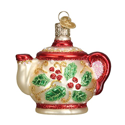 Old World Christmas Coffee and Tea Gifts Glass Blown Ornaments for Christmas Tree Holly Teapot