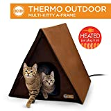 K&H PET PRODUCTS Outdoor Multi-Kitty A-Frame Heated Chocolate Brown 35 X 20.5 X 20 Inches