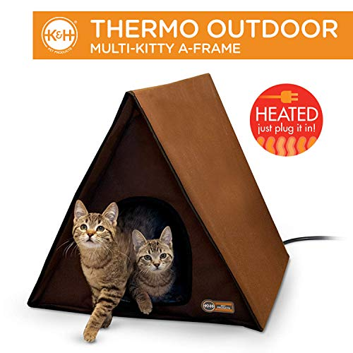 K&H Manufacturing A-Frame Multi-Kitty Outdoor Heated Kitty House, Chocolate, 40W, Brown