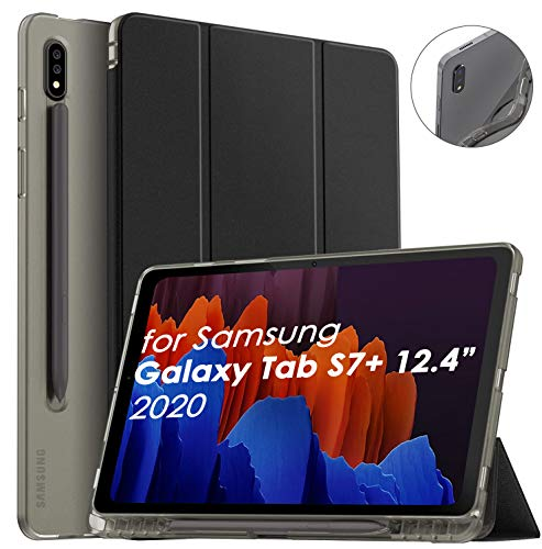 Supveco Galaxy Tab S7 Plus 12.4 case 2020, Shockproof Slim Cases for Samsung Galaxy Tab S7+ 12.4 with S Pen Holder Support Auto Sleep/Wake Smart Cover Case for Galaxy Tab S7+ 12.4 Inch 2020, Black
