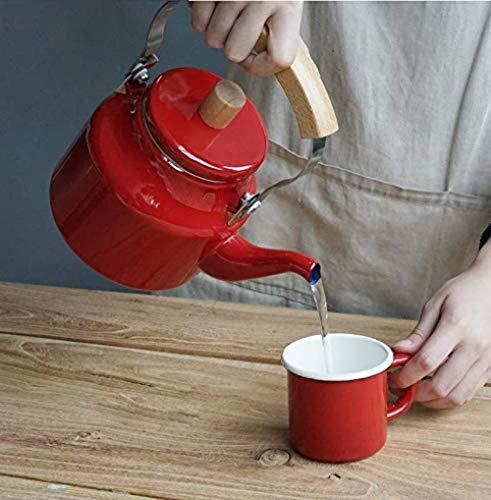 SUZYN Teapot. tè teiere Imposta smaltato bollitore tè bollitori Pentole dello Smalto bollitore teiera Dritto Bollitore Orzo Pentola Forno a microonde Cooker Red