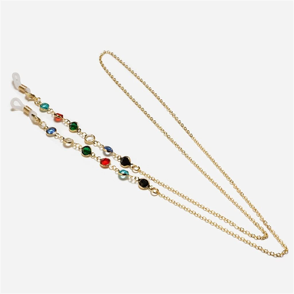 EEKLSJ Crystal Copper Chain Cords Reading Glasses Chain Fashion Women Sunglasses Accessories Lanyard Hold Straps (Color : A, Size : Length-70CM)