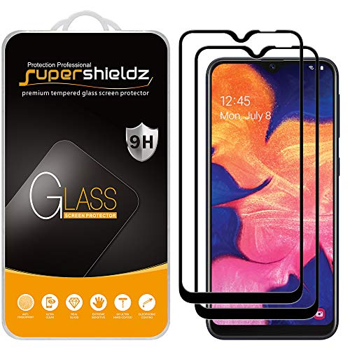 (2 Pack) Supershieldz for Samsung (Galaxy A20E) Tempered Glass Screen Protector, (Full Screen Coverage) Anti Scratch, Bubble Free (Black)