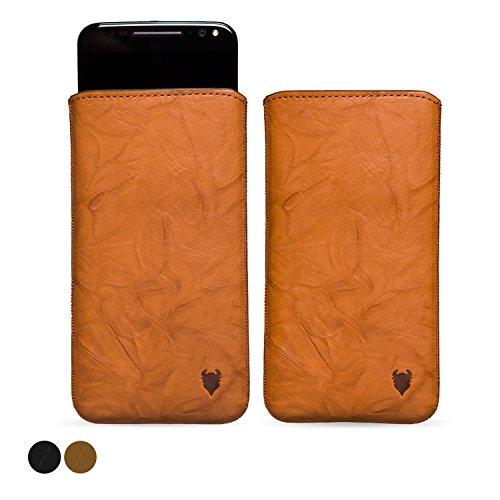MediaDevil Motorola Moto X Style (2015) Lederhülle (Cognac mit braunen Nähten) - Artisanpouch Hülle aus echtem europäischen Leder mit Ausziehlasche