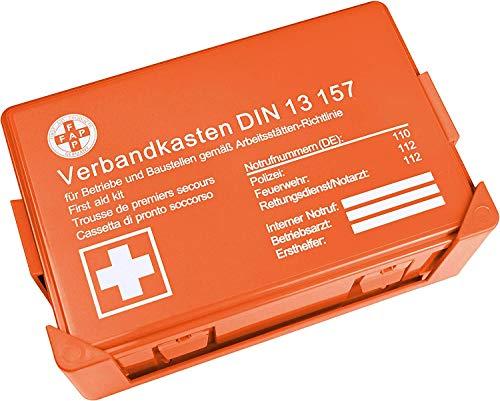 HierBeiDir Betriebsverbandskasten DIN 13157, Erste Hilfe Koffer mit Wandhalterung, Verbands-Kasten gemäß ASR, inkl. Notrufnummer