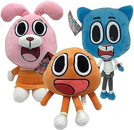 Toys 3pcs Cute Cat Bunny Stuffed Toy Birthday Present Gifts for Children KidsCartoon Amazing World Gumball Darwin Anais Plush Doll Color : 3PCs Set, Height : 25cm