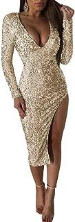 Women's Sexy Sequins Deep V Neck Long Sleeve Bodycon Mini Dress