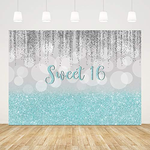 Sweet 16th Birthday Backdrop for Party Glitter Blue 16 Birthday Background for Photography 7x5ft Bokeh Silver 16 Birthday Decorations for Girls Princess Cake Table Banner Sixteen Photo Booth Props