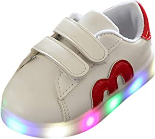 Non-Slip Toddler with Lights, Sneakers 70% Discount for Kids Winter Without Lace White, Walking Shoes for Children with Lights, FULSUNNY