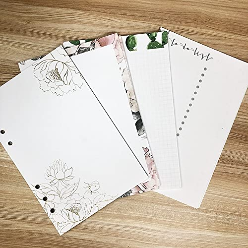 PPuujia Fresh and Lovely Planner Insert Paper Ring Binder - Cuaderno de papel de relleno para diario, notas, cuaderno de notas a la lista (color: recuperación, tamaño: A6, 100 hojas)