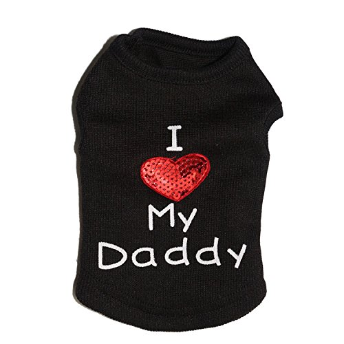 Petall Dog Shirts I Love My Mom/Mommy Dad/Daddy Clothes Doggy Slogan Costume Cute Heart Vest for Small Dogs Puppy T-Shirt