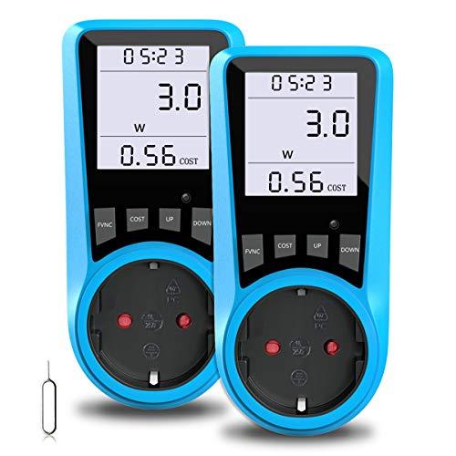 Stromkostenmessgerät, BMK Stromzähler Leistungsmessgerät Energiekostenmessgerät Strommessgerät Steckdose, Leistungsmesser Messgerät mit Größer LCD Bildschirm, Überlastsicherung 3680W (1pcs) (2pcs)