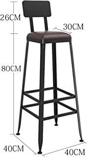 Wp-dz Vintage Wrought Iron Bar Stool, Bar Industrial Wind Chair, Home High Stool, Suitable for Business, Family, Restaurant, Bookstore (Color : D)