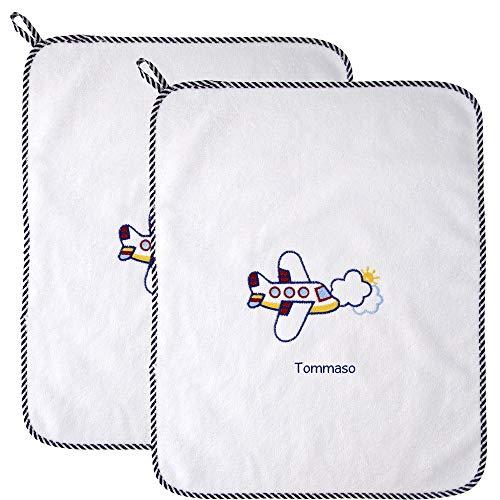 Coccole- Set asilo con nome personalizzato (Asciugamani, Aereo blu)