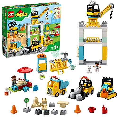 LEGO 10933 DuploTown GrúaTorreyObra, Juguete de Construcción para Niños y Niñas a Partir de 2 años con 5 Mini Figuras