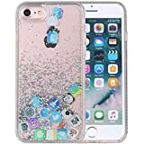 iPhone 8 Case, iPhone 7 Case, iYCK Hard Back Panel and Soft Rubber TPU Bumper Flowing Floating Liquid Infused Quicksand Bling Glitter Sparkle Protective Case Cover for iPhone 8/iPhone 7 - App