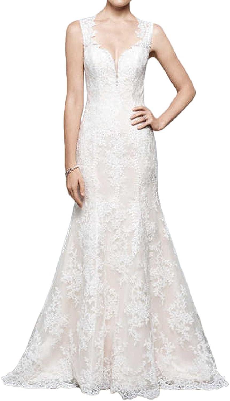 MILANO BRIDE Inexpensive Sheath Column Sweetheart Sheer Back Lace Wedding Dress