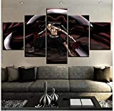 ZKPGUA Prints on Canvas Modular Painting 5 Piece Bankai Bleach Ikkaku Madarame Posters Modern Home Decor Wall Art (A) Frameless