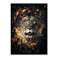 """現代の壁アート絵画抽象的な動物アートキャンバスプリントライオンの頭と火の絵リビングルームの装飾ポスター30x40cm / 11.8""""x15.7""""フレームレス"""