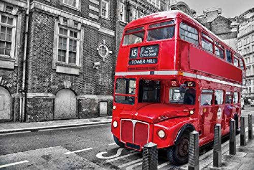 PRWJH Houten puzzel van 1000 stukjes, creatieve moeilijke grote puzzel, educatief speelgoed voor kinderen met stressverlichting - London Bus