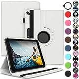 Nauci Tablet Schutz Hülle kompatibel für Medion Lifetab E10702 MD61614 aus Kunst-Leder Standfunktion 360 Drehbar Schutzhülle Universal, Farbe:Weiß