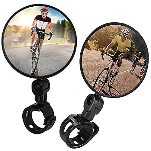 Tuofang Specchio Bici, 2 Pezzi Specchietto Retrovisore per Bicicletta Convesso, Regolabile per Bici Ruotabile a 360 ° Specchietto Retrovisore per Bicicletta, per Mountain Road Bike