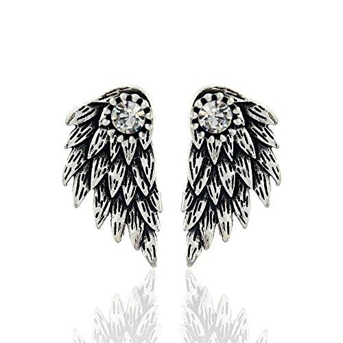 ES101 - Pendientes de tuerca para mujer, diseño de alas de ángel con cristales incrustados, pendientes de fiesta con plumas góticas