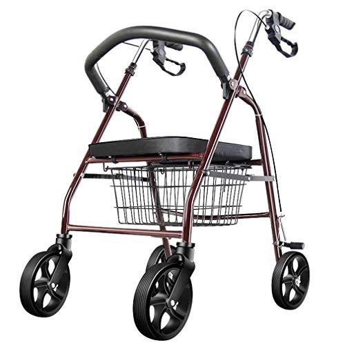 NYPB Premium Aluminium-Rollator Set, Feststellbremse, Gehwagen mit Korb und Gepolstertem Sitz, EIN Gebogener Röhrenförmiger Rücken, Vorderrad Universalrad, ältere und Behinderte Patienten