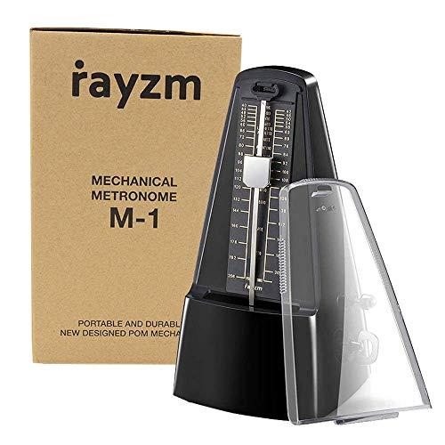 Rayzm Metronomo meccanico di alta precisione per tutti i tipi di strumenti musicali (pianoforte/tamburo / violino/chitarra / basso e strumenti a fiato), anello di clic e campanello acustico