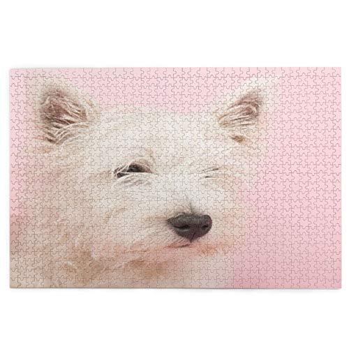 Rompecabezas de Imágenes 1000 Piezas,Perro rosa West Highland White Terrier Westie Westy Animal...