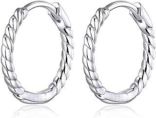 Qings Pendientes Aro Mujer Plata de Ley 925 Pendientes Trenzados Twist Aretes Niñas Diámetro:13mm
