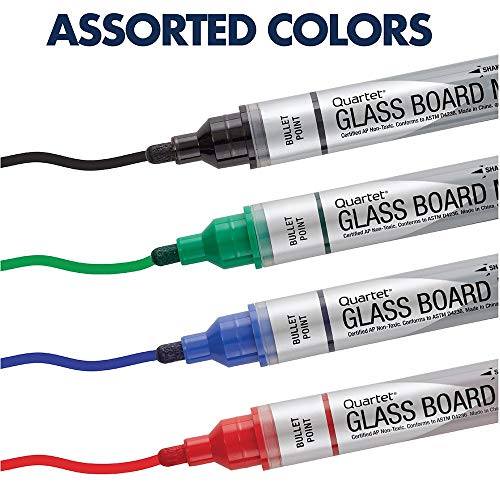 Glass Board Dry Erase Markers by Quartet, Premium, Bullet Tip, Assorted Colors, 4 Pack (79552) Photo #6