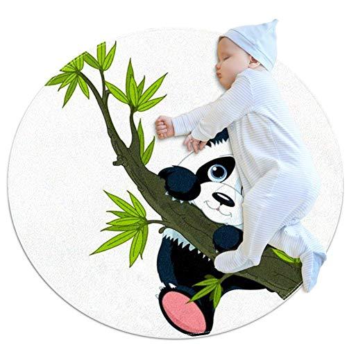 Desheze Panda Kletterbaum Runder Teppich Weiche rutschfeste Matte für Kinderzimmer Babyzimmer zu Hause Wohnzimmer Küche Spielzimmer Sofakissen 70x70cm