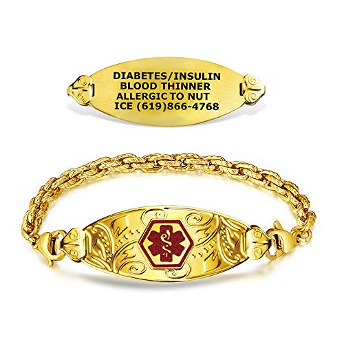 Divoti Custom Engraved Medical Alert Bracelets for Women, Stainless Steel Medical Bracelet, Medical ID Bracelet w/Free Engraving – PVD Gold Lovely Filigree Tag w/PVD Gold Rope-TP Red-7.5'