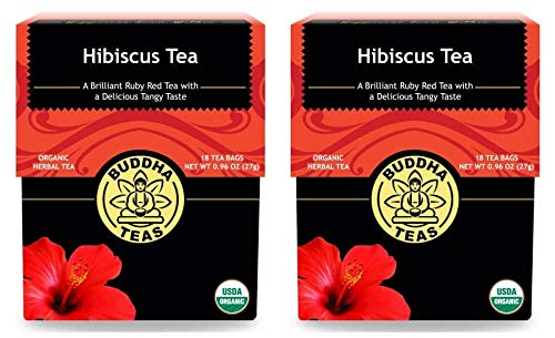 Buddha Teas Natural Hibiscus Tea (Pack of 2) With Bioflavonoid, Phytochemicals and Anthocyanins, 18 Count Each