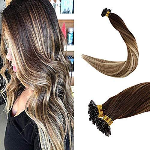 LaaVoo 16 inch Pre Bonded Italian Keratin Nail Tips U Tips Remy Human Hair Fusion Keratin Straight Hair Balayage Darker...