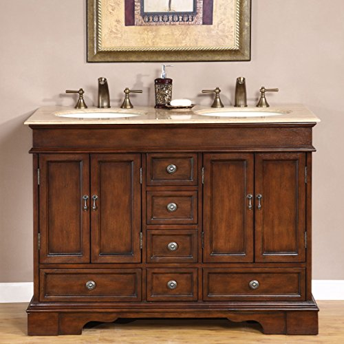"""Silkroad Exclusive HYP-0715-T-UIC-48 Compact Travertine Stone Top Double Small Sink Bathroom Vanity with Cabinet, 48"""", Brown"""