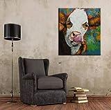 tzxdbh 40x60cmNewest Handgemalte Acryl Leinwand Ölgemälde Bunte Kuh Tier Ölgemälde Moderne abstrakte Wandkunst Bild Kinderzimmer ohne Rahmen