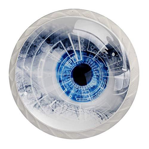 Möbelknöpfe Blaue Augen Schränke Hardware Runde Möbel Knöpfe Schublade Kommode Schrank Kleiderschrank zieht Griffe für die Küche zu Hause 3.5x2.8cm