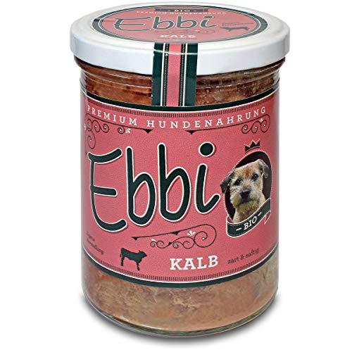 Wuff & Mau Bio Kalbsfleisch mit Rinderleber 2X 400g Glas (insg. 800g)/ Ebbi Hundefutter mit Kalb, Fenchel, Brokkoli, Reis, und Hanföl