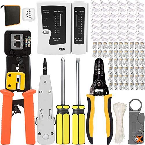 Mailine - Kit de herramientas de red profesionales, juego de herramientas de Internet para crimpado de cables, alicates crimpadora rj45, mantenimiento del ordenador, kit LAN Tester del naranja