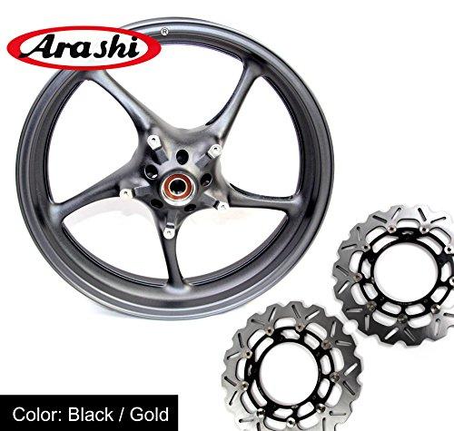 Arashi rueda delantera borde + Rotores de freno para Yamaha YZF R1/R62006–2012(color negro) de color personalizados Disco de freno R1M rn32R1S R62006200720082009201020112012