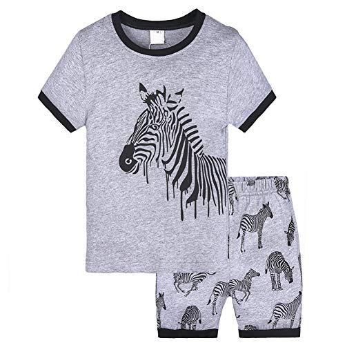 Gyratedream Peuter Kinderen Baby Jongens T-Shirt Tops Shorts Broek Cartoon Print Zebra Dinosaur Strepen Patroon Outfit Kleding Set 1-7 Jaar