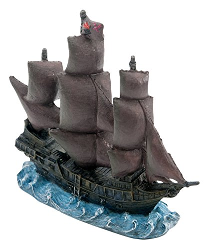 """Penn-Plax Officially Licensed Disney Aquarium Ornaments from Pirates of The Caribbean (4.25"""" Black Pearl)"""