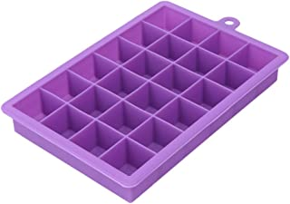 Large 24 Grids Silicone Ice Tray Ice Cream Maker,Square Shape Form For Ice Fruit Ice Mold Kitchen Bar Drinking Accessories,Purple