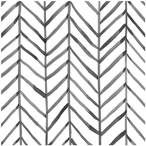 HaokHome 96020 1 Modern Stripe Peel and Stick Wallpaper Herringbone Black White Vinyl Self Adhesive product image