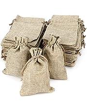 RUBY - 50 bolsitas Saco de Yute 9,5 x 13,5 cm, Bolsas de Regalo, bolsitas de Tela Bolsas Yute para Joyas, Bolsas de arpillera con cordón, Saco Navidad, Saco carbón (13.5 x 9.5cm/50pcs)
