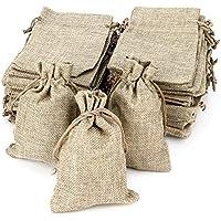 RUBY - 50 bolsitas Saco de Yute 9,5 cm x 13,5 cm, Bolsas de Regalo, bolsitas de Tela Bolsas Yute para Joyas, Bolsas de arpillera con cordón, Saco Navidad, Saco carbón, bolsitas Regalos (Natural)